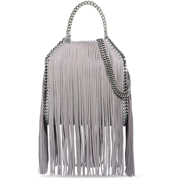Stella McCartney Light Grey Falabella Shaggy Deer Fringed Mini Tote  ( 1 e1e974fda8f54