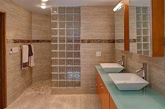 resultat d'imatges per a tile walk in shower without doors