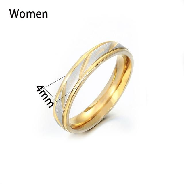 Brand Name: AuxauxmeOrigin: CN(Origin)Metals Type: STAINLESS STEELCustomized Type: CharacterGender: lovers'Shape\pattern: GEOMETRICSurface Width: 4mmSurface Width: 6mmFine or Fashion: FashionRings Type: Wedding BandsMaterial: MetalOccasion: EngagementModel Number: K-R21-M6#Item Type: Customized RingsSetting Type: NoneStyle: Cute/RomanticColor: GoldSize: size 5-13Gift For: Wife/Husband/Girfriend/Boyfriend/Couple/LoversFestival: Chritmas/ ThanksgivingPackage: Drop Shipping AceptableRing Style: Tre