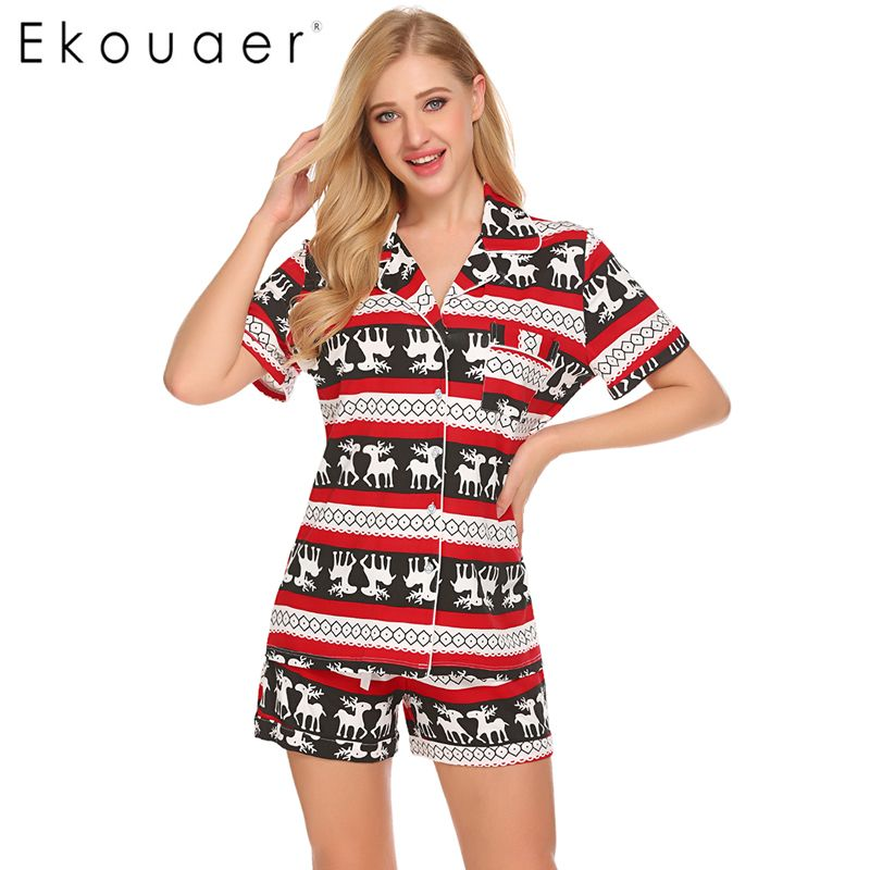 23c6131e921 Ekouaer Christmas Casual Pajama Sets For Women Sleepwear Tops Shorts Set  Simple Loungewear Night Suit Nightgown