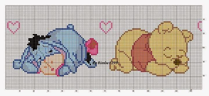schema punto croce striscia lenzuolino whinnie the pooh