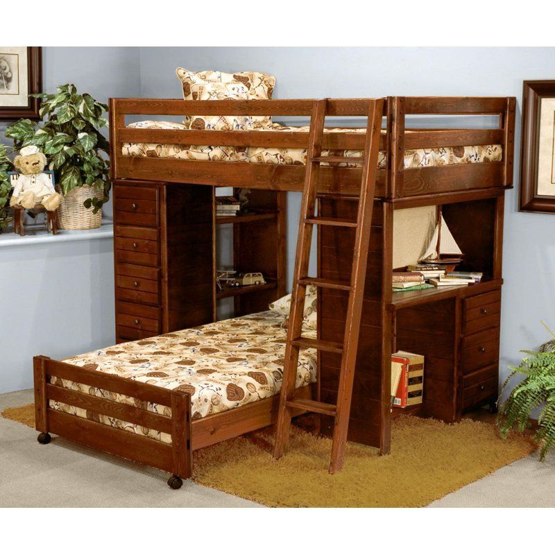 Chelsea Home Twin Over Loft Bed With Desk And Chest Ends Cocoa Www Hayneedle Com Bunk Beds Stairs Storage