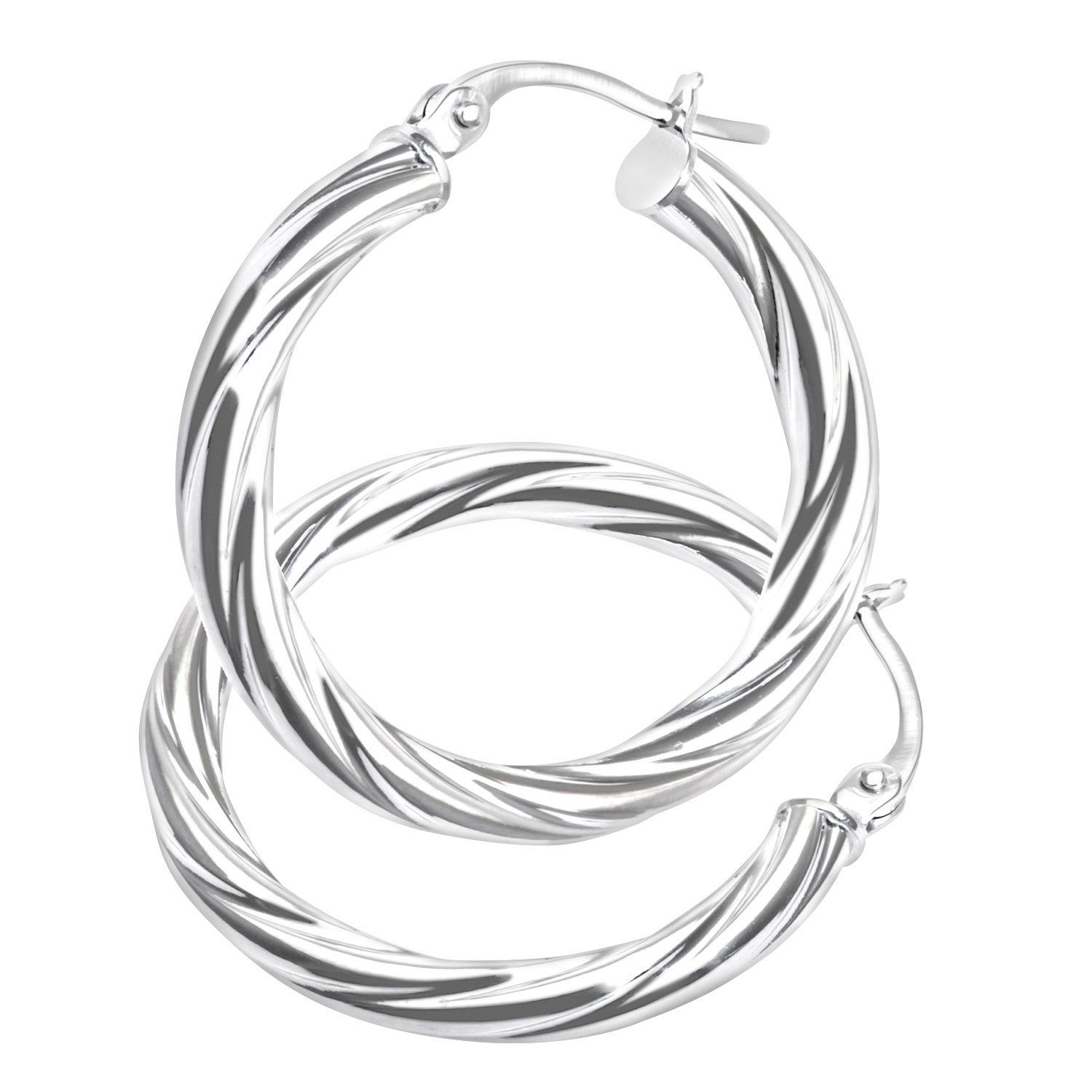 Citerna Ladies Hoop 9 ct White Gold Earrings rGZUhb