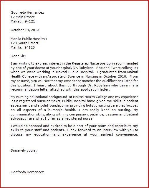 Application Letter For Staff Nurses In The Philippines - Nurse ...
