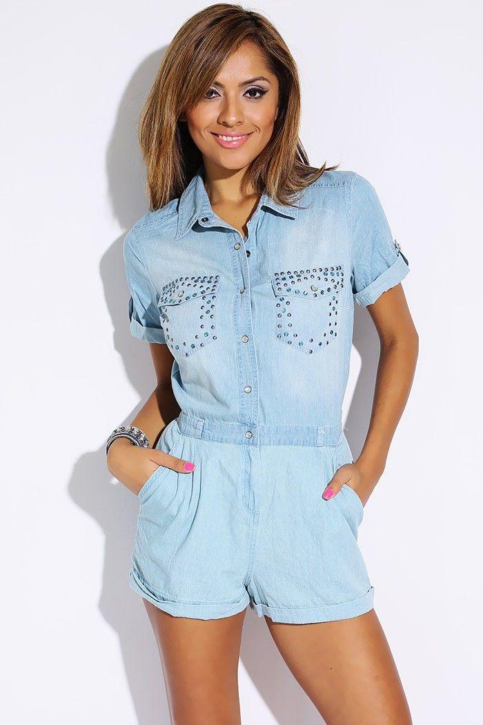 f2be3933051  1015store.com  fashion  style light blue denim bejeweled pocket romper  jumpsuit- 15.00