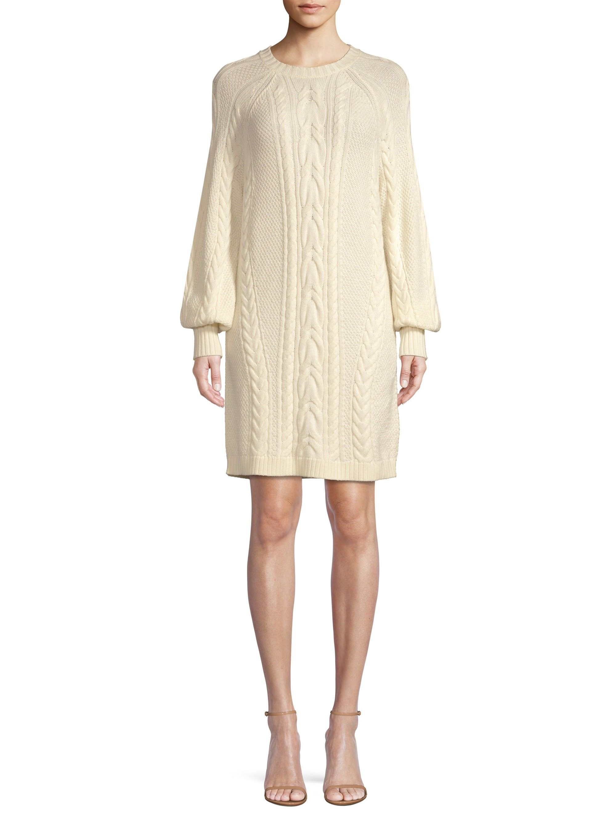 d0ab2472f8 Ralph Lauren Aran Cable-Knit Wool Shift Sweater Dress - Chic Cream X-Large