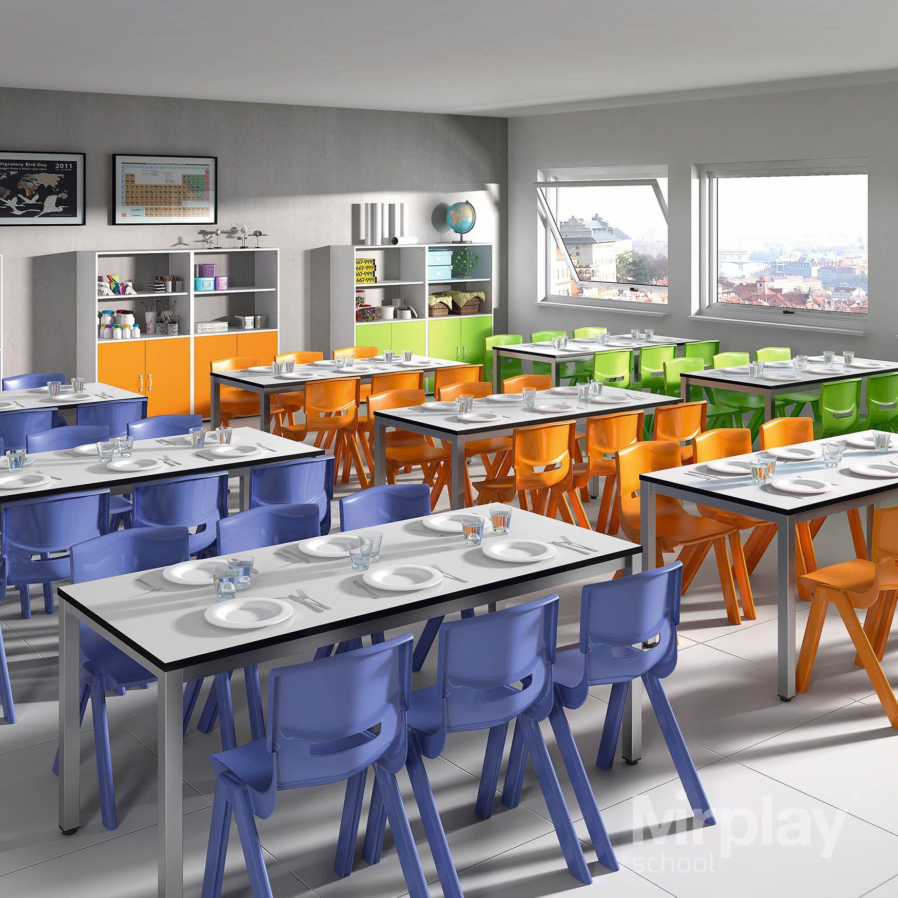 Mobliario escolar para espacios polivalentes. Comedor escolar. Mesa ...