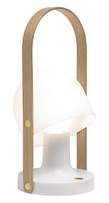 Lampe Sans Fil Followme Marset Blanc Bois Naturel Made In