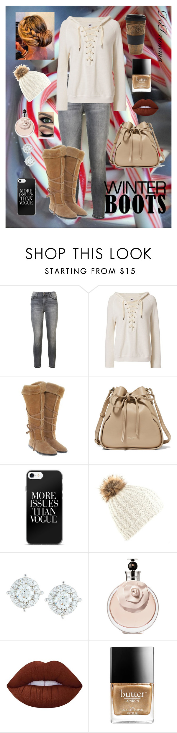 """""""Winter Coffee"""" by dadrumma on Polyvore featuring Current/Elliott, NSF, Tod's, Nina Ricci, Mémoire, Lime Crime, Butter London, Free People and winterboots"""