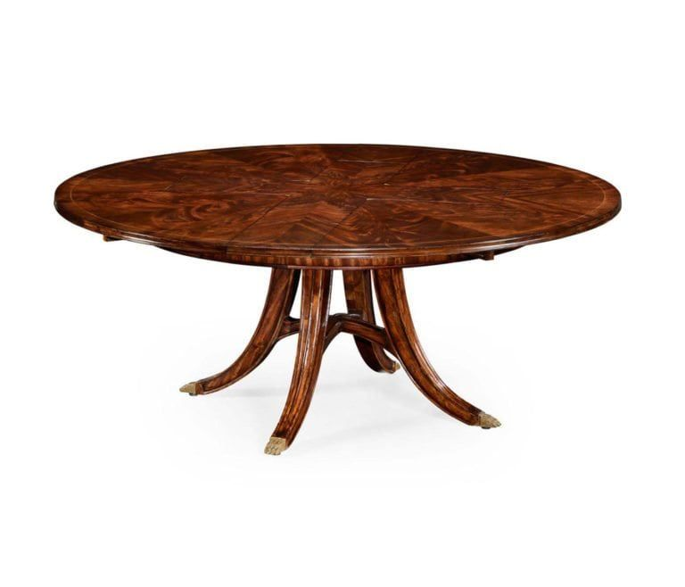 Mahogany Jupe Table With Hidden Fold Away Leaves High End Jupe Circular Dining Table Dining Table Solid Wood