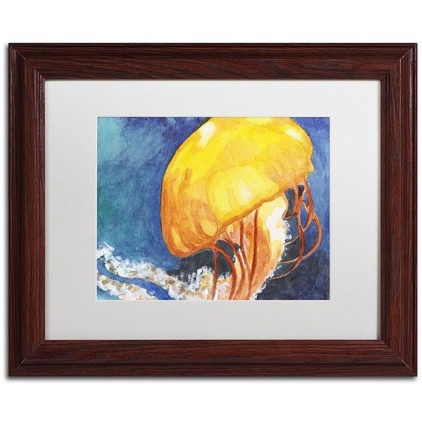 Trademark Fine Art Jelly Fish II Wood Finish Framed Wall Art (€80 ...