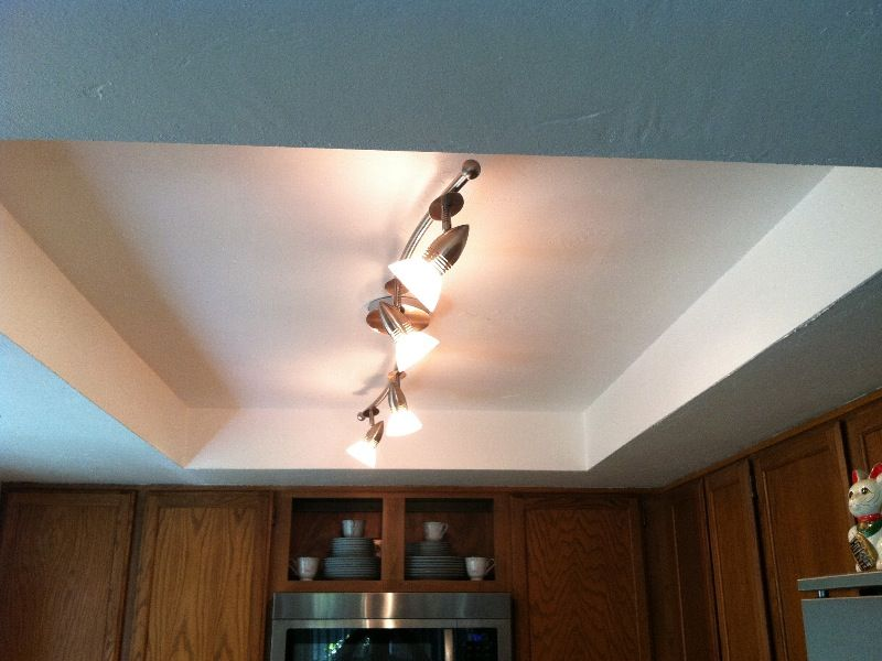 Kitchen Ceiling Lighting Brass Pulls Ideas For Low Ceilings Light Fixture Textured And Painted The Repair Had New