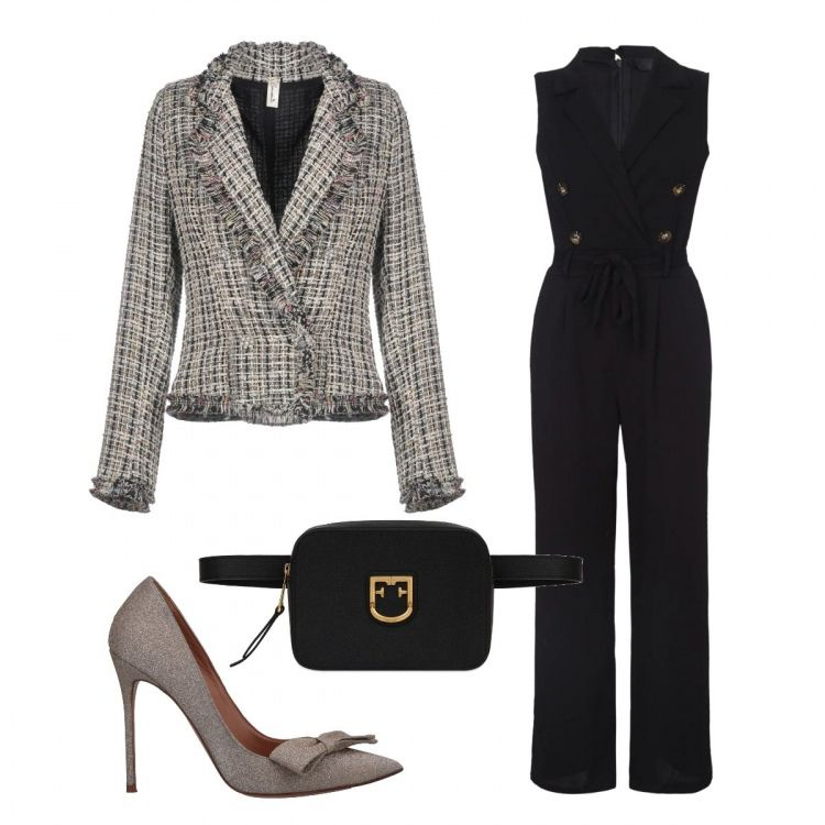 huge selection of 3e623 acc1c Jumpsuit nera, giacca modello Chanel, décolleté con tacco ...
