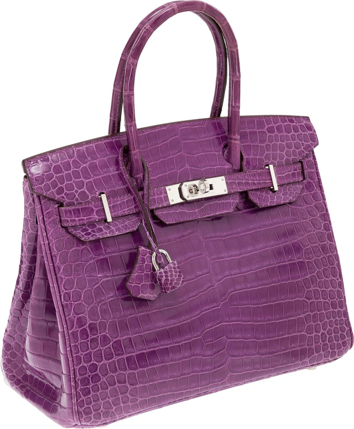 Hermes Very Rare 30cm Shiny Violet Porosus Crocodile Birkin Bag with Palladium  Hardware 7f1bba8aa78d4