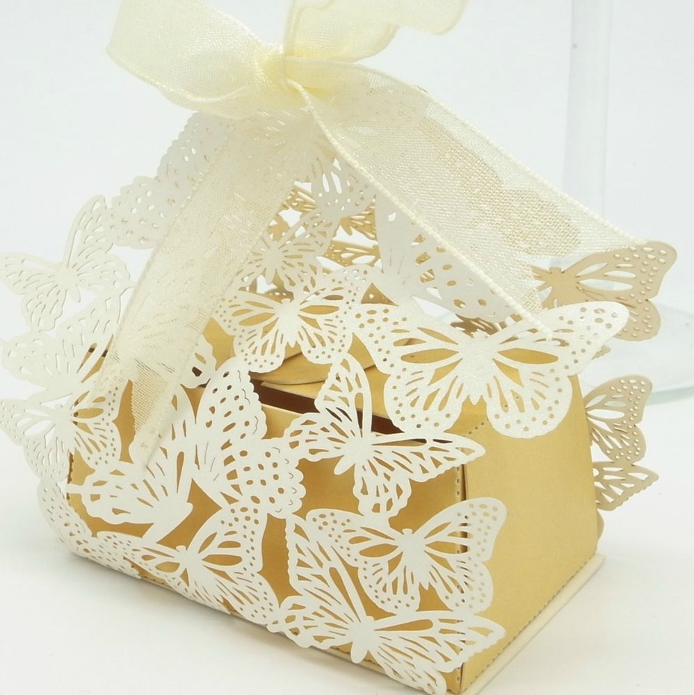 25* shimmer Ivory and gold Butterfly Bomboniere Boxes Laser cut ...