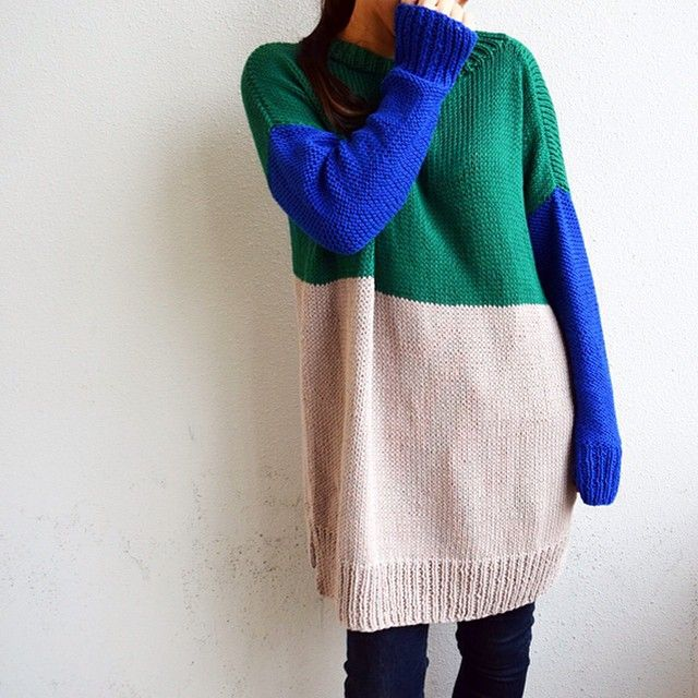 "@giiton's photo: ""ROCK WITH YOU SWEATER DRESS*  見頃上:LAND OF OZ / 見頃下:SAND TROOPER BEIGE / 袖:TRUE BLUE"""