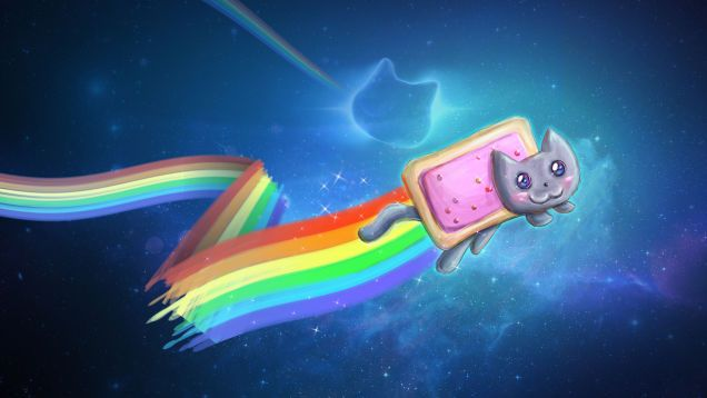 My God It S Full Of Cats The Very Best Artwork Of Cats In Space Nyan Cat Cat Wallpaper Rainbow Wallpaper