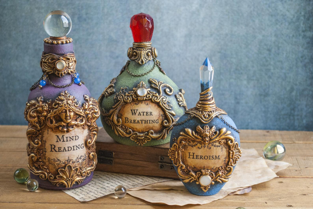 Bottle Decoration Cosplay prop magic potion of sorcerer Dungeons and dragons potions for Larp DnD potions alchemist Apothecary Jar