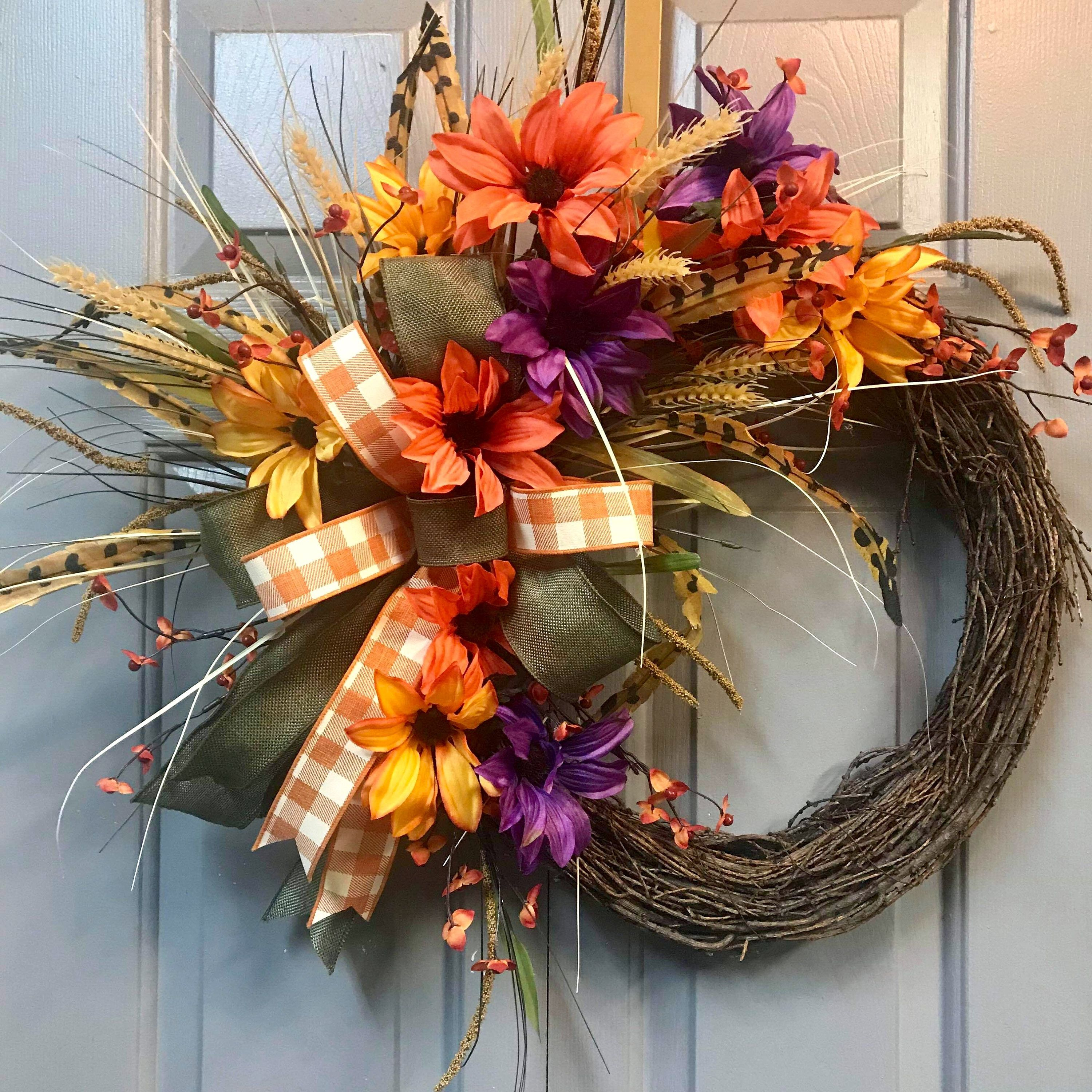 Rustic Fall Grapevine Wreath Front Door Wreath By Libowdesigns On Etsy Fall Grapevine Wreaths Rustic Wreath Fall Wreath