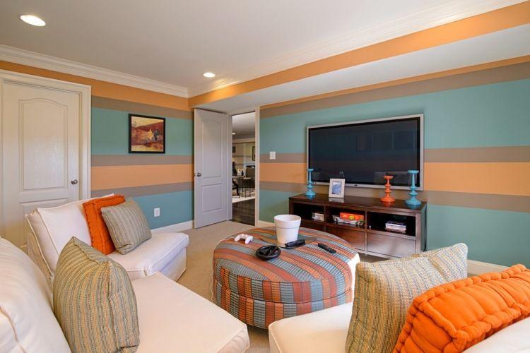 Streifen In Blau, Orange Und Taupe Im Wohnzimmer | Wall Decoration ... Ideen Fr Wnde Im Wohnzimmer