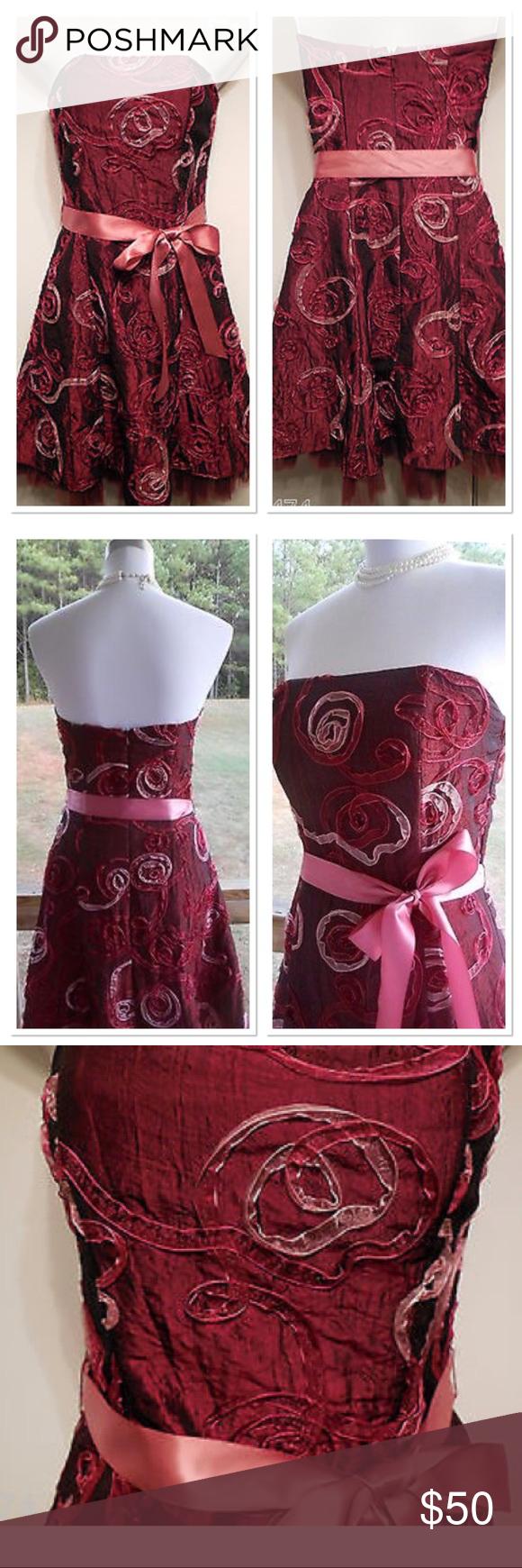 Jessica McClintock red ribbon cocktail dress - 4 | Ribbon belt, Pink ...