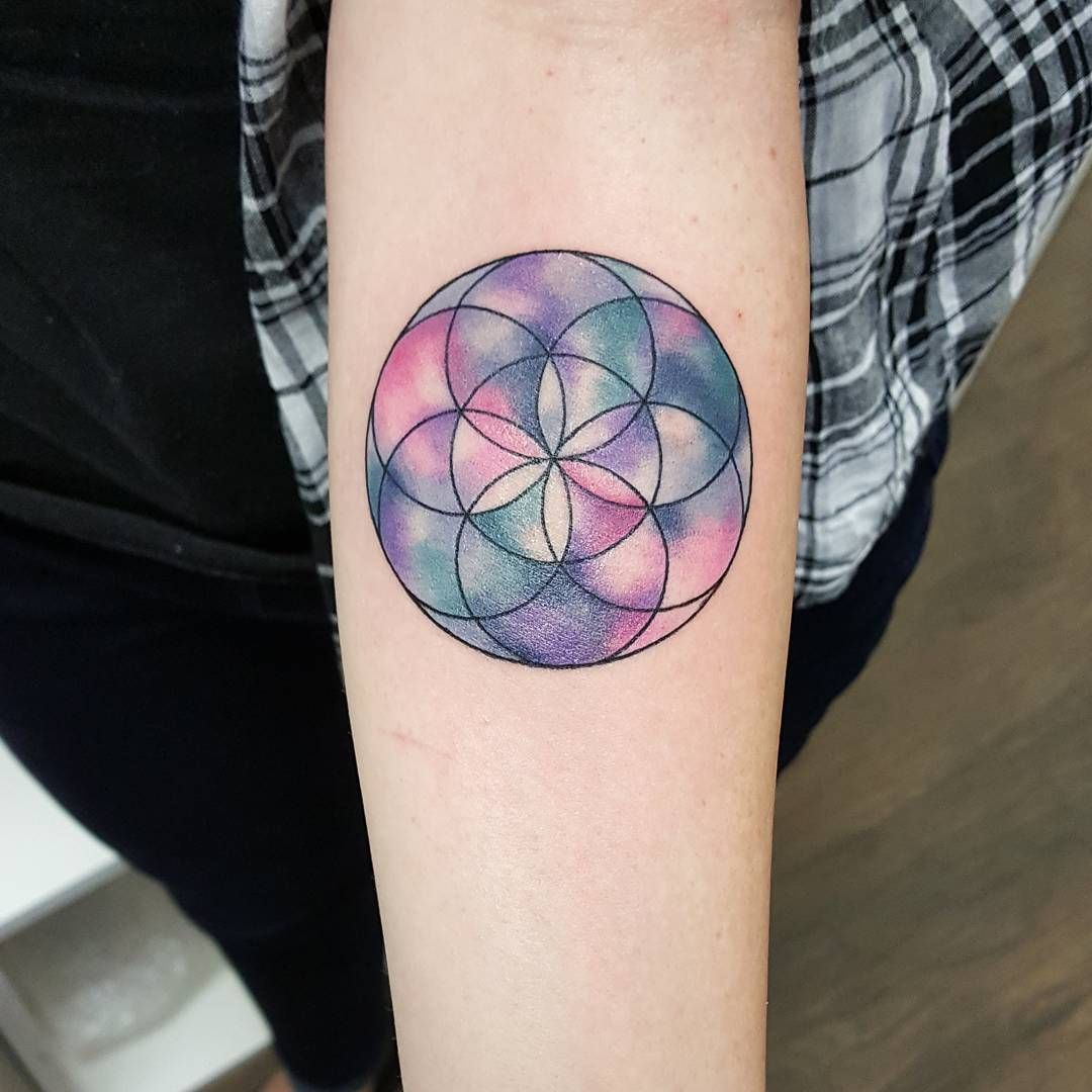 Geometric watercolour flower of life jemkatattooart tora sumi…