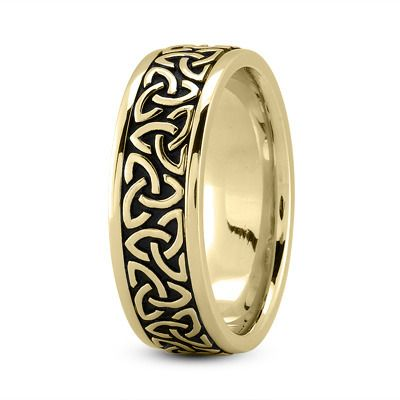 Mens 10K Yellow Gold 6mm Comfort Fit Gaelic Cross Wedding Band Ring