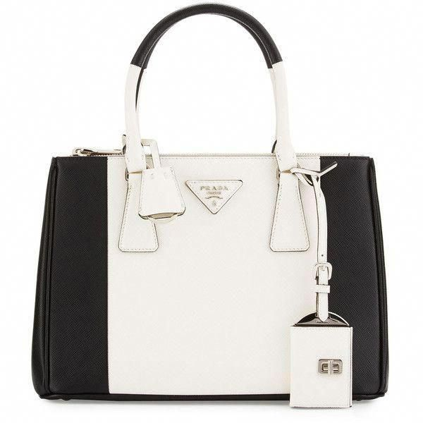 ab24154af52e Prada Bicolor Saffiano Lux Tote Bag ($2,550) ❤ liked on Polyvore featuring  bags, handbags, tote bags, prada, zip tote, zippered tote bag, white  handbags, ...