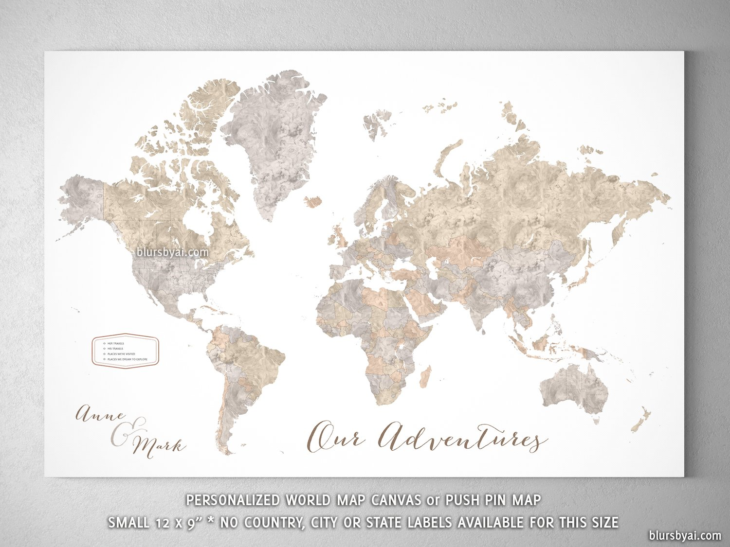 Small personalized world map canvas print or push pin map 12x9 small personalized world map canvas print or push pin map 12x9 abey gumiabroncs Image collections