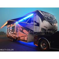 Under Glow Led Light Kit For Rvs Trailers And Campers Shown Here With Our Optional Awning Light Awning Lights Light Travel Trailers Led Light Kits