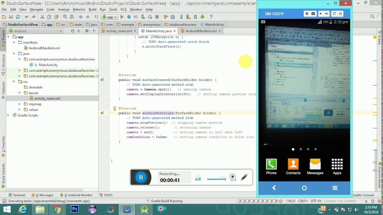 Android SurfaceView Example Android Studio Android