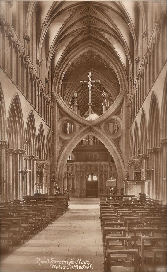 Wells Cathedral, Somerset, England, Medieval Gothic Architecture, Lot of 4 Vintage Original 1900s Edwardian English Rare Photo Postcards