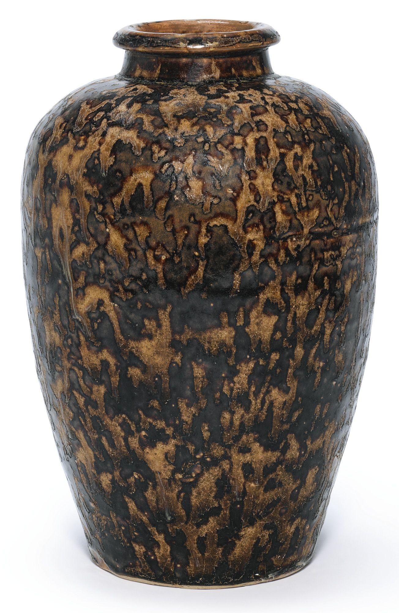 A rare 'Jizhou' 'tortoiseshell'-glazed meiping, Song Dynasty