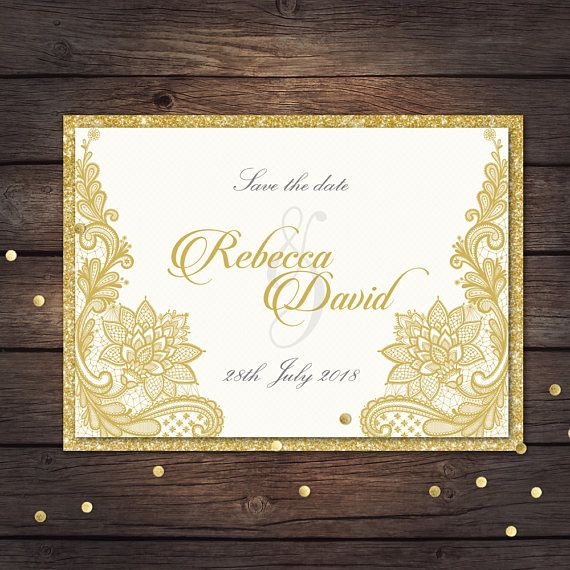 save the date template white and gold invitation details