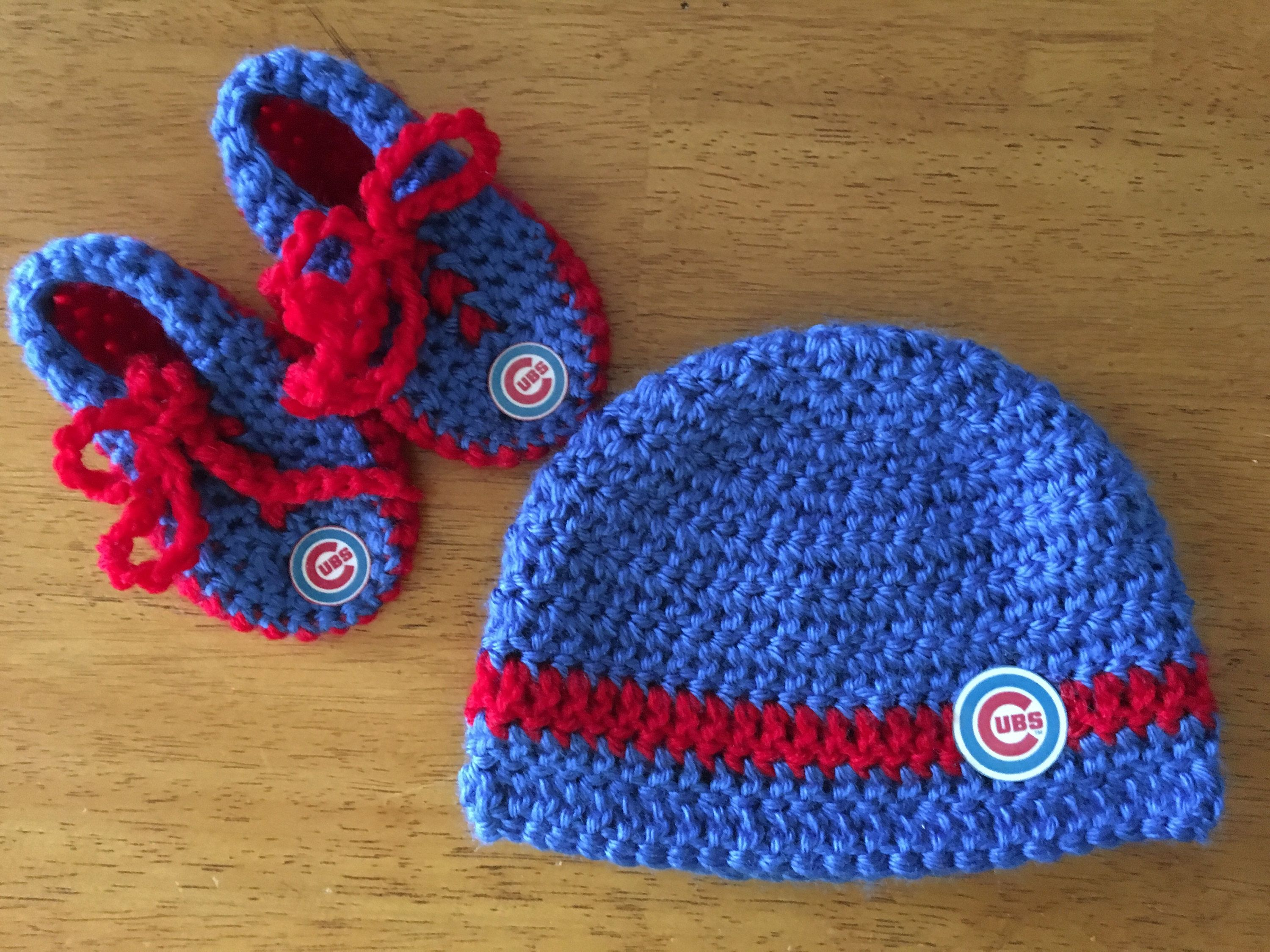 168c1113135 Crocheted Chicago Cubs Baby Hat Booties Set by BARTYyarn on Etsy ...