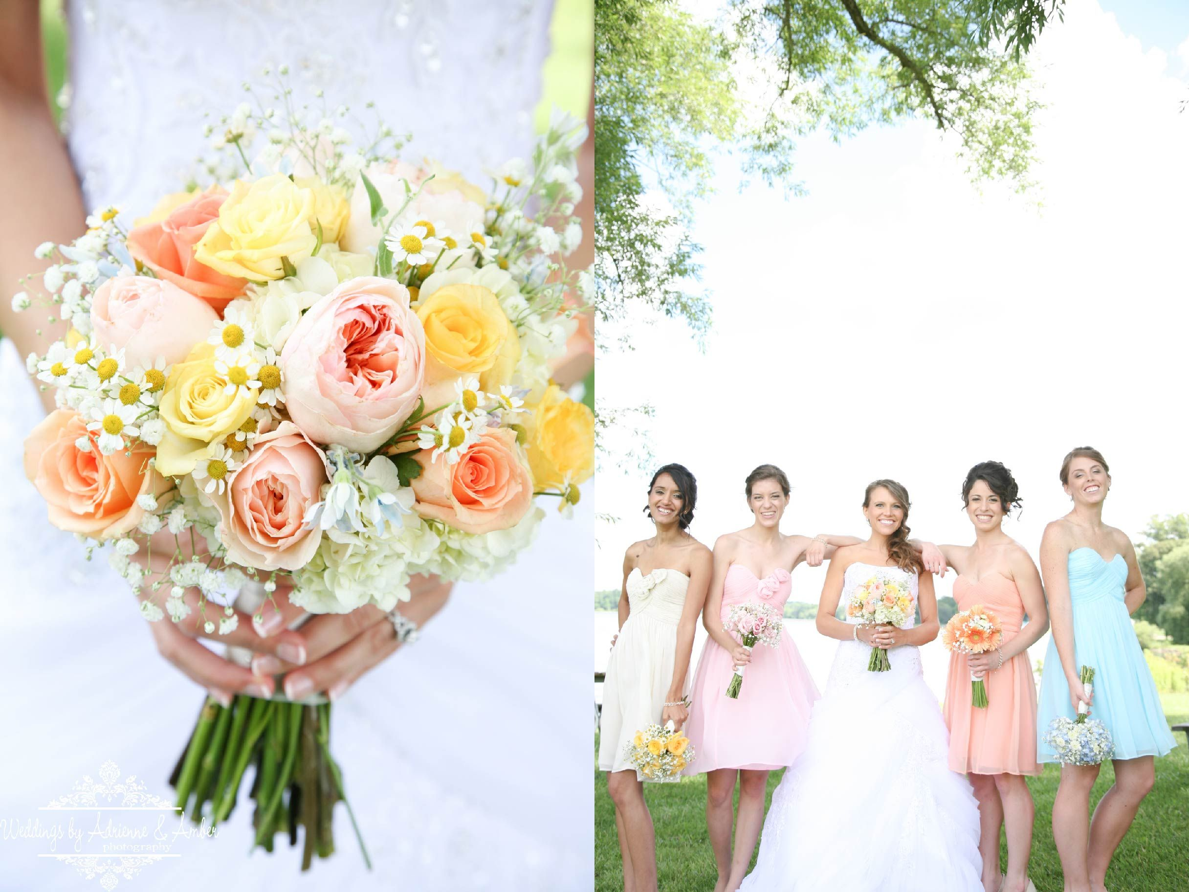 Royal Oak Wedding Photography-Weddings by Adrienne & Amber #spring #color #pastel #bouquet #bridesmaid #dresses #photography #royaloak #detroit #bride #spring #summer #cute #color