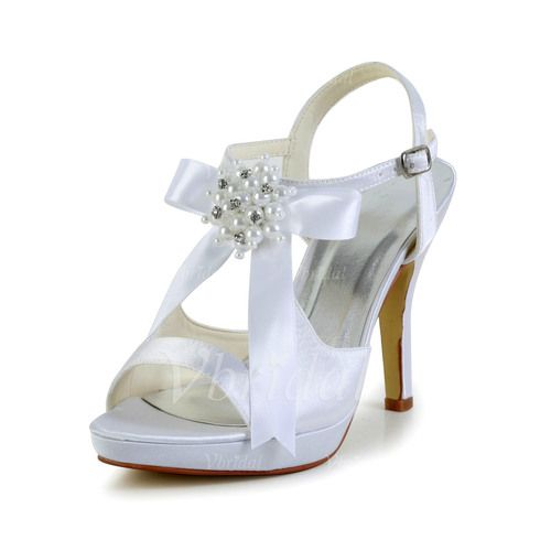 Wedding Shoes - $72.58 - Women's Satin Stiletto Heel Peep Toe Platform Sandals With Rhinestone Ribbon Tie (0475103629)