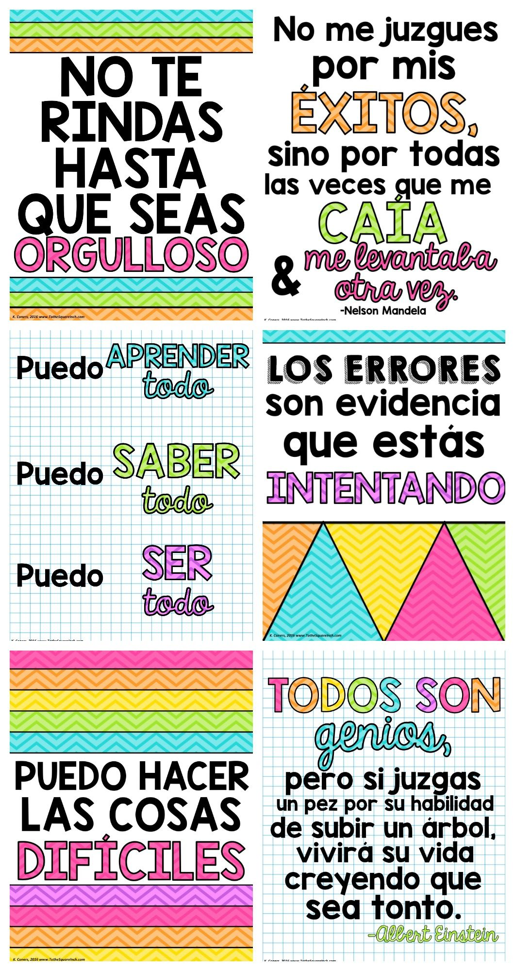 Growth mindset posters in spanish spanish classroom