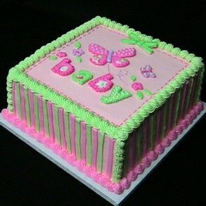 Adorable Pink And Green Butterfly Baby Shower Cake