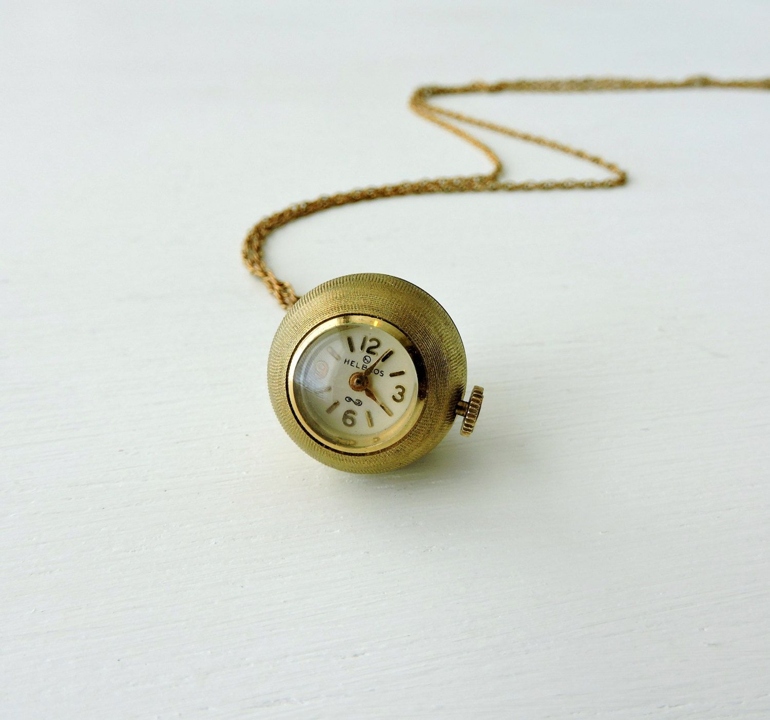 Vintage ball watch pendant necklace 12k gold filled working vintage ball watch pendant necklace 12k gold filled working helbros ladies watch wind aloadofball Gallery