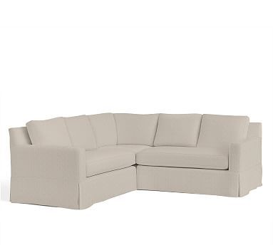 York Square Arm Right Arm Sofa With Chaise Sectional Slipcover, Twill  Parchment