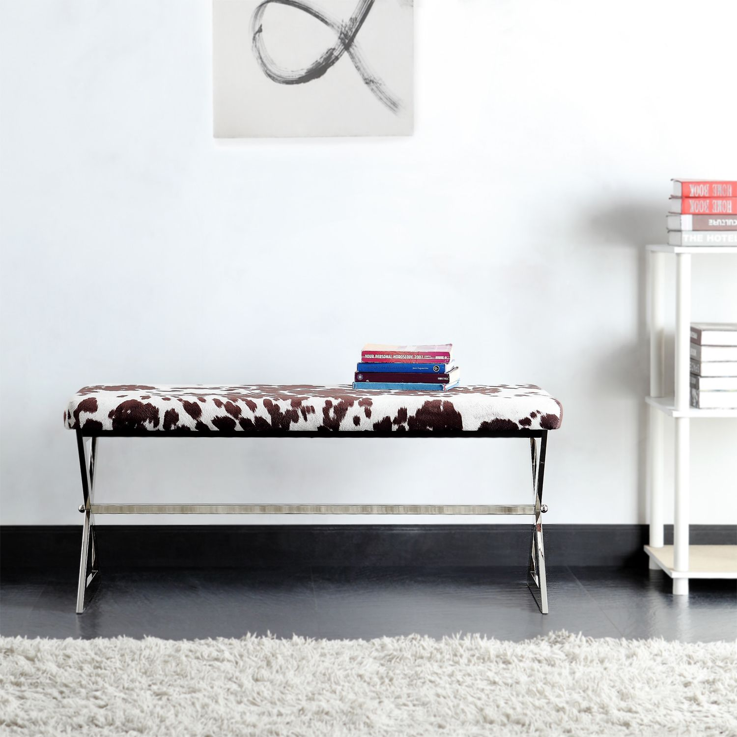 INSPIRE Q Southport Cowhide Print 40-inch Metal Bench | Overstock.com  Shopping -