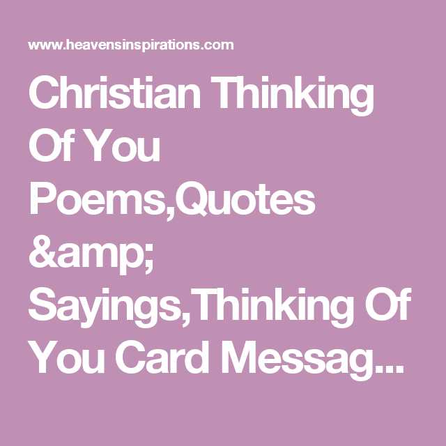 Christian Thinking Of You Poems,Quotes & Sayings,Thinking ...