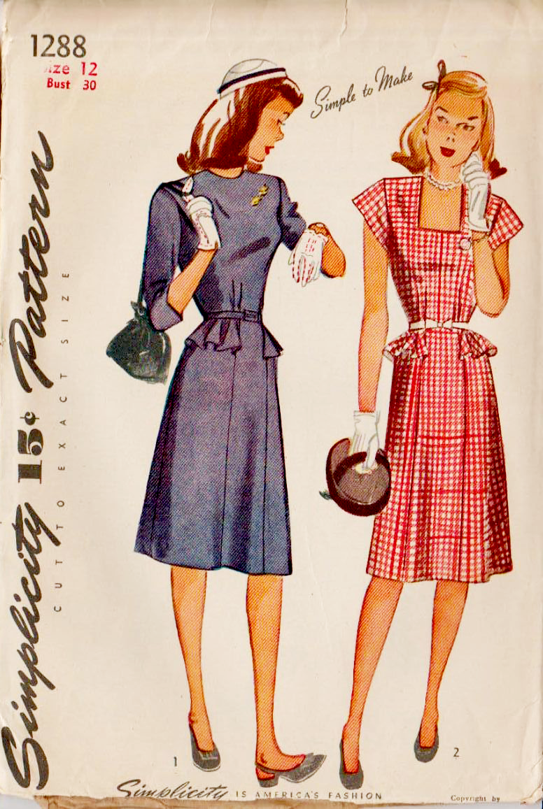 Simplicity 1288 (1944) | My Vintage Pattern Stash - 1900 to 1960s ...