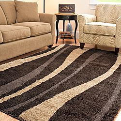 Hand Woven Ultimate Dark Brown/ Cream Shag Rug (5u00273 X 7