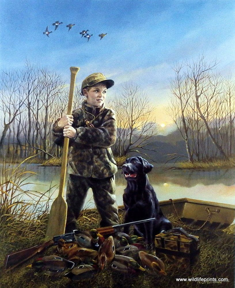 HOUND /& HUNTER YOUNG BOY HUNTING DEER IN A BOAT PAINTING ART REAL CANVAS PRINT