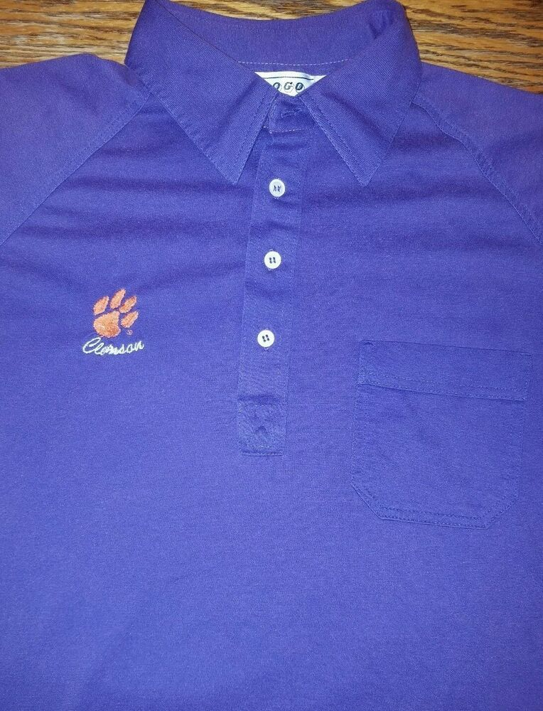 04a69940 Vintage Clemson Tigers polo shirt Adult L Purple Carolina NCAA National  Champion #Nologo #ClemsonTigers
