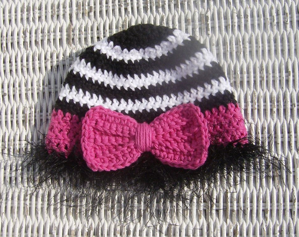 Crochet Pattern To Make This Zebra Baby Beanie With Bow I Had A
