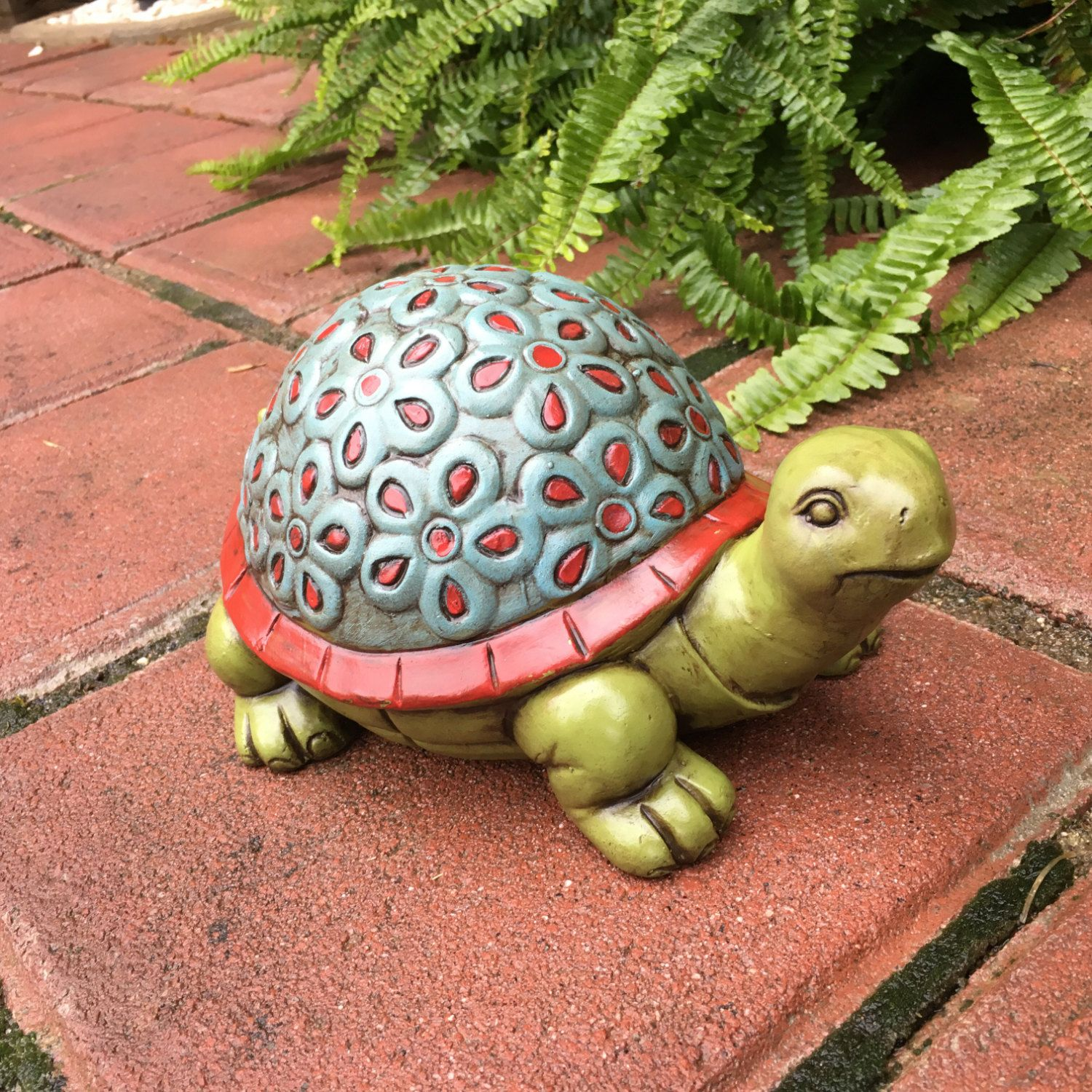 concrete garden turtle hand painted flower tortoise with floral