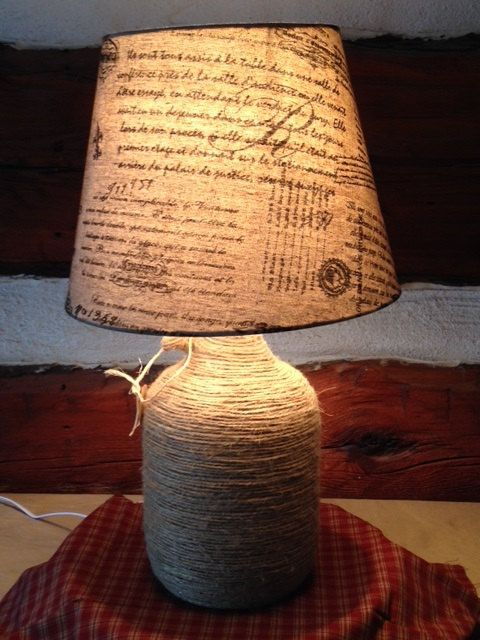 Country style twine wrapped table lamp with french script lamp shade on etsy 55 00
